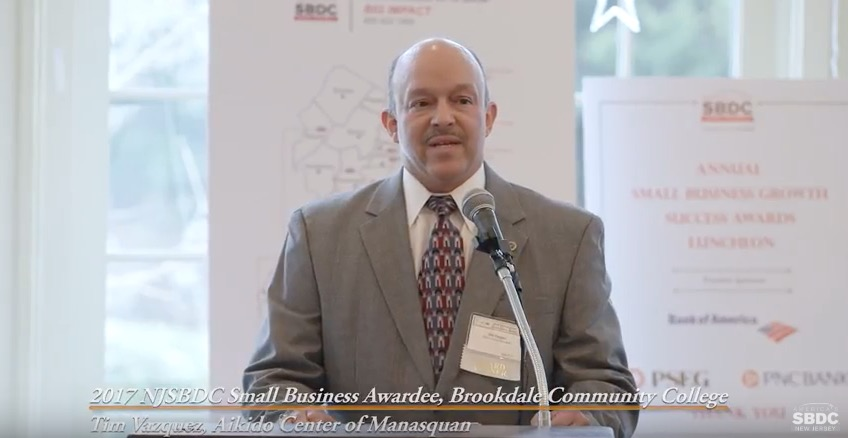 2017 NJSBDC Success Award Winner Tim Vazques, CEO, Aikkido Center of Manasquan