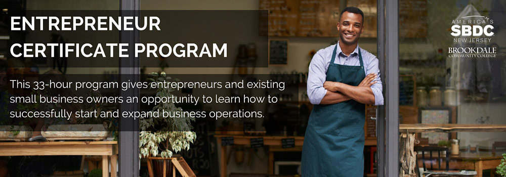 Entrepreneur Certificate Program available at the ASBDC at Brookdale Community College